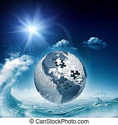 abstrakcyjny, tła, środowiskowy, ocean, projektować, twój