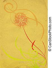 abstrakcyjny, tło, żółty kwiat, rocznik wina