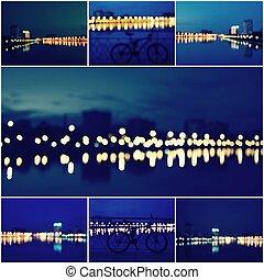 abstrakcyjny, tło, collage, od, piękny, defocused, miasto zapala, zamazany prospekt, od, miasto skyline, i, odbicie, na, zachód słońca