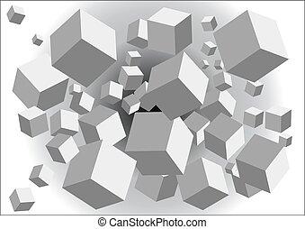 abstrakcyjny, tło, z, kostki