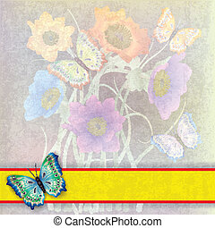 abstrakcyjny, tło, z, motyle, i, kwiaty