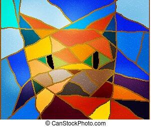 abstrakcyjny, tło, z, mozaika, i, sylwetka, od, niejaki, cat., wektor