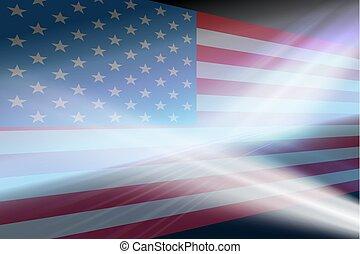 abstrakcyjny, tło, z, niejaki, sylwetka, od, przedimek określony przed rzeczownikami, usa, flag.