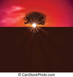 abstrakcyjny, tło, z, przedstawcie w sylwecie drzewa