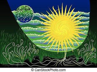 abstrakcyjny, tło, z, słońce