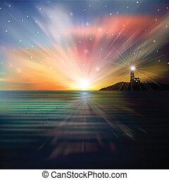 abstrakcyjny, tło, z, sylwetka, od, latarnia morska