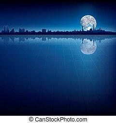 abstrakcyjny, tło, z, sylwetka, od, miasto, i, księżyc
