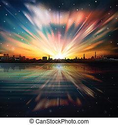 abstrakcyjny, tło, z, sylwetka, od, miasto, i, wschód słońca