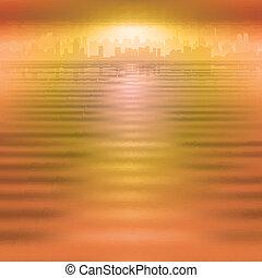 abstrakcyjny, tło, z, sylwetka, od, miasto