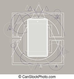 abstrakcyjny, telefon, trójkątny, komórka głoska, mądry