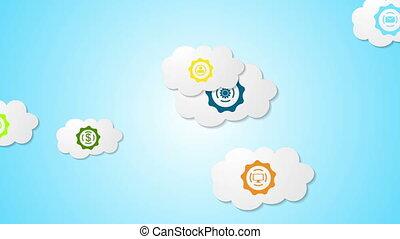 abstrakcyjny, towarzyski, komunikacja, video, ożywienie, z, chmury