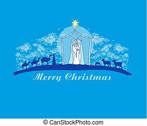 abstrakcyjny, urodzenie, betlejem, karta, jezus