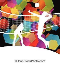 abstrakcyjny, volleyball gracz, sylwetka, wektor, tło, sport
