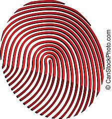 abstrakcyjny, wektor, 3d, odcisk palca