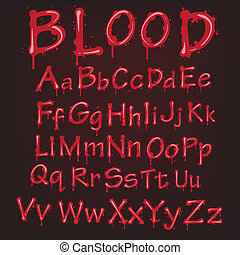 abstrakcyjny, wektor, alphabet., krew, czerwony