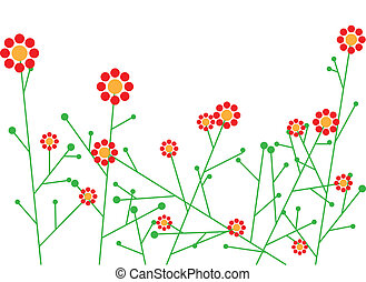 abstrakcyjny, wektor, kwiaty
