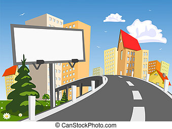 abstrakcyjny, wektor, miasto, z, tablica ogłoszeń