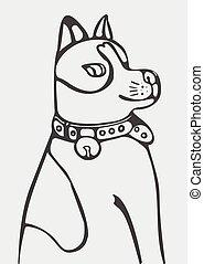 abstrakcyjny, wektor, pies, ilustracja, rysunek