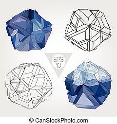 abstrakcyjny, wektor, sphere., set., 3d