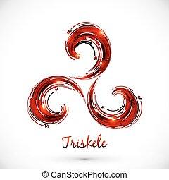 abstrakcyjny, wektor, symbol, czerwony, triskele