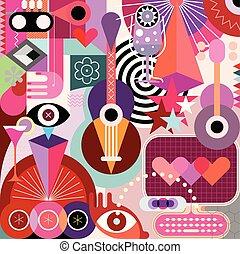 abstrakcyjny, wektor, sztuka, ilustracja