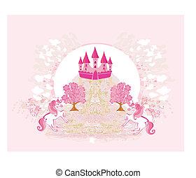 abstrakcyjny, wizerunek, od, niejaki, różowy, zamek, i, jednorożce