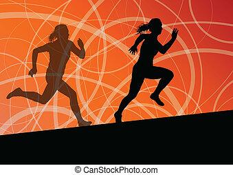 abstrakcyjny, wyścigi, ilustracja, sylwetka, wektor, tło, czynny, atletyka, sport, kobiety