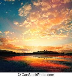 abstrakcyjny, zachód słońca, jezioro, tło, las