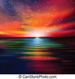 abstrakcyjny, zachód słońca, tło, morze