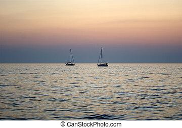 abstrakcyjny, zachód słońca, tło, ocean