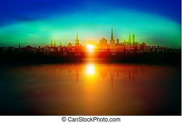 abstrakcyjny, zachód słońca, tallinn, tło