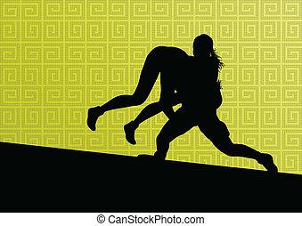 abstrakcyjny, zapaśniczy, młody, ilustracja, grek, rzymski, wektor, tło, czynny, sylwetka, sport, kobiety