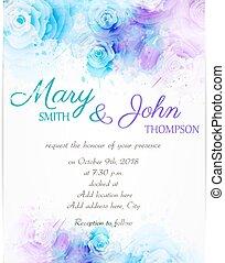 abstrakcyjny, zaproszenie, szablon, florals, ślub