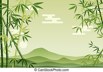 abstrakcyjny, zielony, bambus, tło