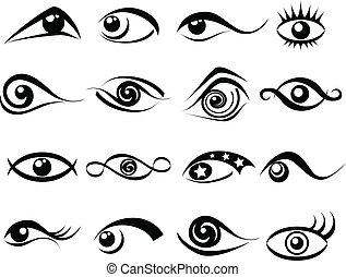 abstrakt, ögon, symbol, sätta