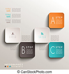 abstrakt, 3d, etikett, infographics