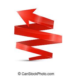 abstrakt, 3d, roter pfeil, ikone