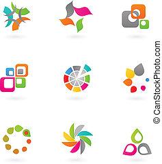 abstrakt, -, 6, sätta, ikon