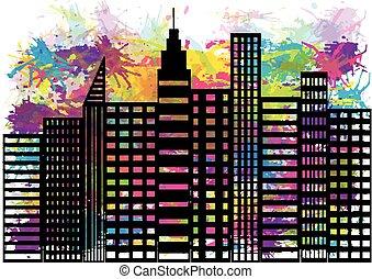 abstrakt, abbildung, -, city.