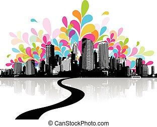 abstrakt, abbildung, mit, city.