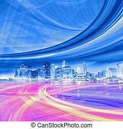 abstrakt, abbildung, von, ein, städtisch, landstraße, gehen, zu, der, modern, stadt, stadtzentrum, geschwindigkeit, bewegung, mit, farbenfreudiges licht, trails.