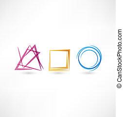 abstrakt, affär, ikon