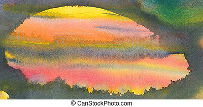 abstrakt, akvarell, målning
