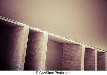 abstrakt, architektonisch, wand, detail