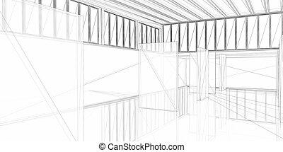 abstrakt, arkitektoniske, 3, construction., begreb, -, moderne arkitektur, og, designing.