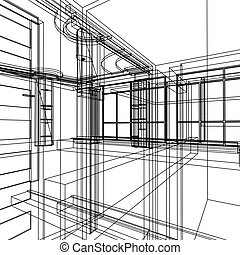 abstrakt, arkitektur, konstruktion
