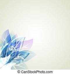 abstrakt, artistisk, bakgrund, med, blå, blommig, element
