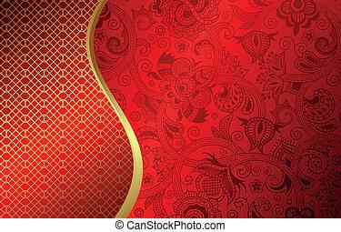 abstrakt, båge, röd fond