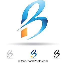 abstrakt, b, brev, ikon