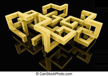 abstrakt, baggrund, hos, 3, struktur